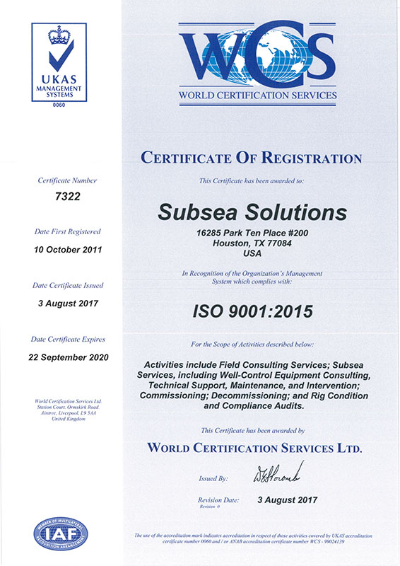 Subsea Solutions Certificate of Registration 7322 20174web